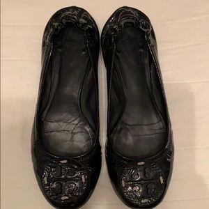 Tory Burch Reva flats in black patent leather